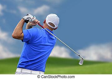 tir, golfeur, balle golf