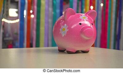 tirelire, debout, rose, bureau, fleurs, cochon, porcelaine