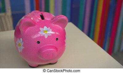 tirelire, debout, rose, bureau, fleurs, cochon