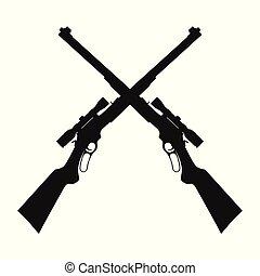tireur embusqué, traversé, fusils, fusil