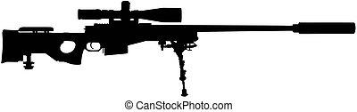 tireur embusqué, vecteur, silhouette, illustration, fusil