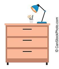 tiroirs, brun, matériels, top., poitrine bois, lumière, lampe, approvisionnements médicaux, fait, naturel