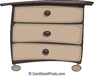 tiroirs, poitrine, meubles, dessin animé, maison