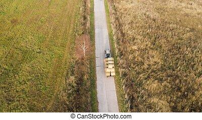 tissages, route, champ, nous, sur, tracteur, foin, conduite, mouche, long