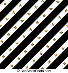 tissu, or, fond, noir, rayé, blanc