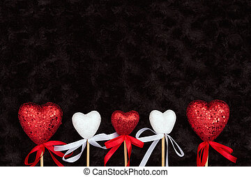 tissu, rose, noir, textured, cœurs, blanc, peluche, rouges
