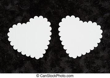 tissu, rose, textured, deux, noir, vide, cœurs, blanc, peluche