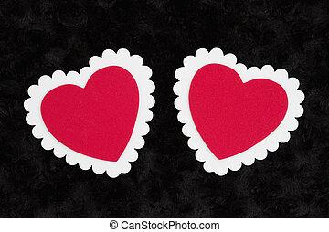 tissu, rose, textured, deux, noir, vide, cœurs, blanc, peluche, rouges