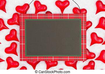 tissu, signe, arrière-plan noir, pendre, cœurs, blanc rouge