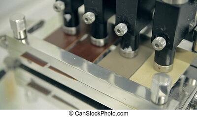 tissu, vérification, cuir, appareil, qualité, ou