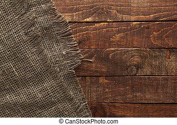 tissu, vieux, bois, burlap, table