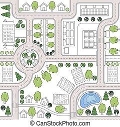 tissu, ville, arbres., résumé, fond, plan., habillement, conception, paysage, toile, seamless, modèle, impression, gabarit, routes, papier peint, ville, textiles, map., maisons, urbanistic, vecteur, toile de fond