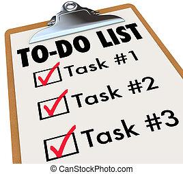 to-do, tâches, rappeler, checkmark, liste, presse-papiers, buts, mots