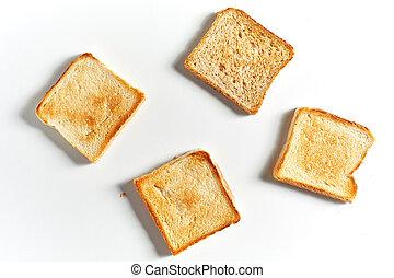 toast, blanc, ensemble, fond, pain