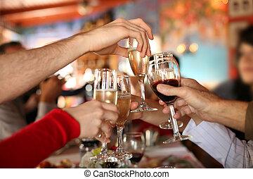 toast., lunettes, tenant mains, confection, champagne, celebration., vin
