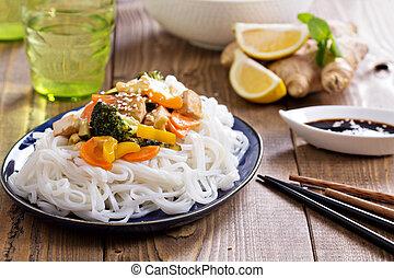tofu, frire, remuer, légumes