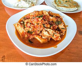 tofu, frire, remuer