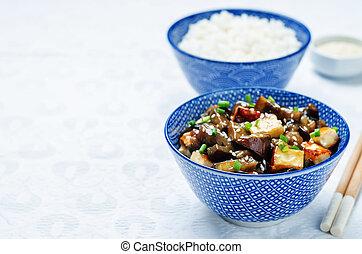 tofu, riz, teriyaki, aubergine