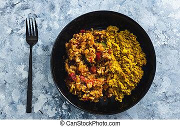 tofu, vegan, végétariens, nourriture, méditerranéen, plant-based, brouillé, pommes terre