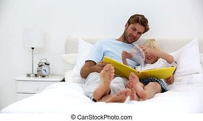 togethe, livre lecture, père, fils