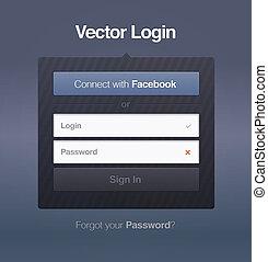 toile, écran, vecteur, login, mot passe, sécurité