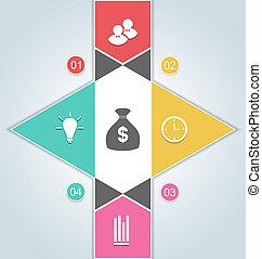 toile, éléments, bannière, business, options, moderne, -, haut, illustration, options, étape, vecteur, gabarit, infographics, conception
