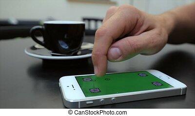 toile, étiquettes, écran, agrandir, téléphone, iphone, blanc vert, page