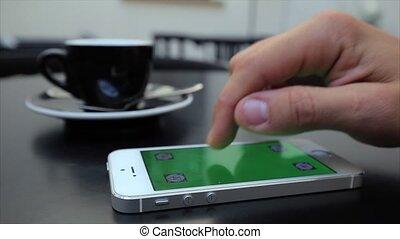 toile, étiquettes, écran, rouleau, téléphone, iphone, blanc vert, par, pages