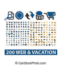 toile, 20, &, ensemble, icônes, vacances, vecteur