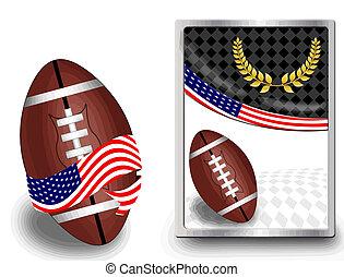 toile, américain, balle, football, icône