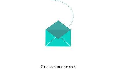 toile, app, email, 2d animation, nouveau courrier, message, ou