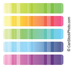 toile, bannières, ensemble, coloré