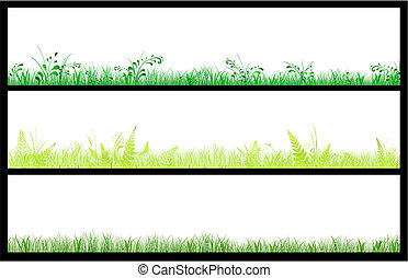toile, bannières, herbe, ensemble, trois