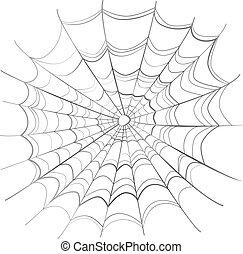 toile, blanc, compliqué, araignés