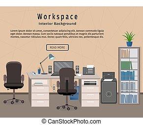 toile, bureau, banner., concept., conception, lieu travail, workspace., intérieur, organisation