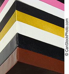 toile, carrée, empilé, couleurs claires, peintre