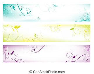 toile, coloré, bannières, résumé, floral