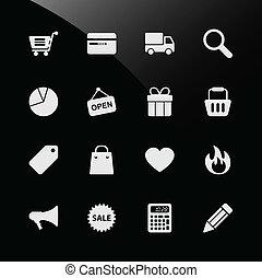 toile commerciale, ecommerce, icônes