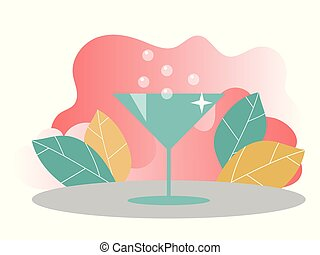 toile, concept, cocktail., atterrissage, banners., illustration, gabarit, page