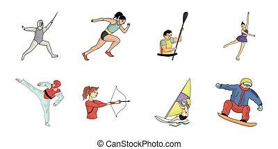 toile, différent, ensemble, genres, illustration., icônes, symbole, athlète, collection, sports, compétitions, vecteur, design., stockage