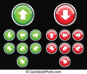 toile, direction, ensemble, eau, éditer, n'importe quel, boutons, vecteur, facile, arrows., size., 2.0, style.