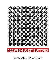 toile, ensemble, boutons, vecteur, noir, lustré, 100