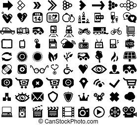 toile, ensemble, icônes, grand, universel, noir
