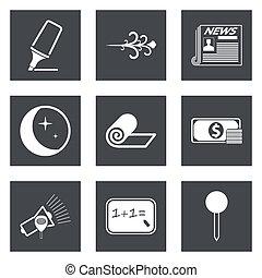 toile, ensemble, icônes, mobile, applications, conception, 8