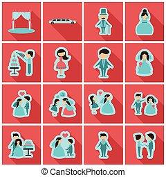 toile, ensemble, -, mariage, mariage, nuptial, icône