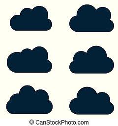 toile, ensemble, nuages, silhouettes., shapes., collection, contours., prévision, vecteur, divers, temps, formes, interface, éléments conception