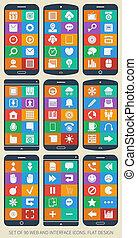toile, ensemble, plat, icons., interface, 90, design.