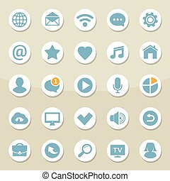toile, ensemble, réseau, icônes, mobile, universel, média, vecteur, communication, social, contact