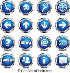 toile, ensemble, &, -, site, une, icône internet