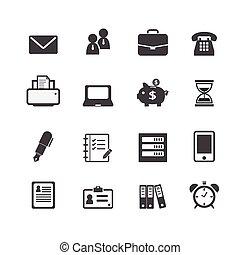 toile, financier, bureau, icones affaires, travail, lieu travail